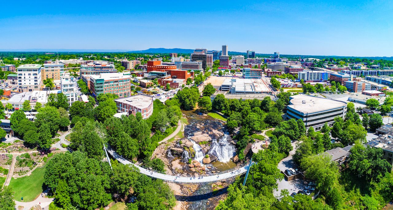 Drone aerial city image of downtown Greenville, South Carolina