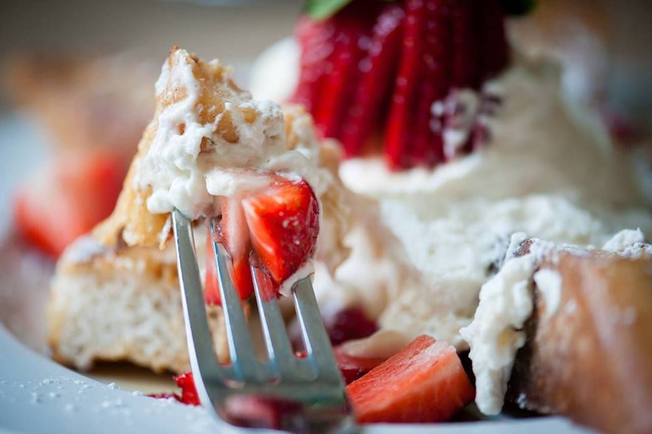 Early Girl Eatery french toast with strawberries and whipped cream