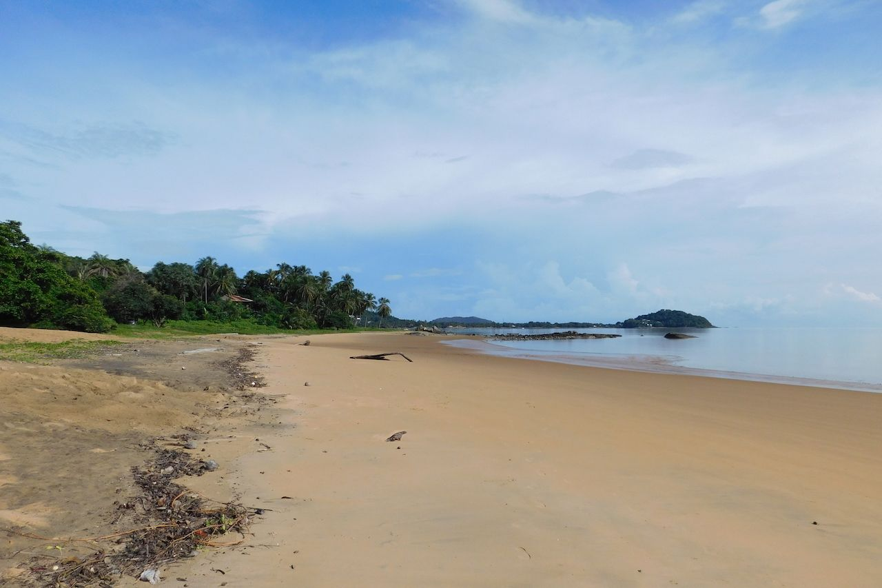 Empty beach in French Guiana
