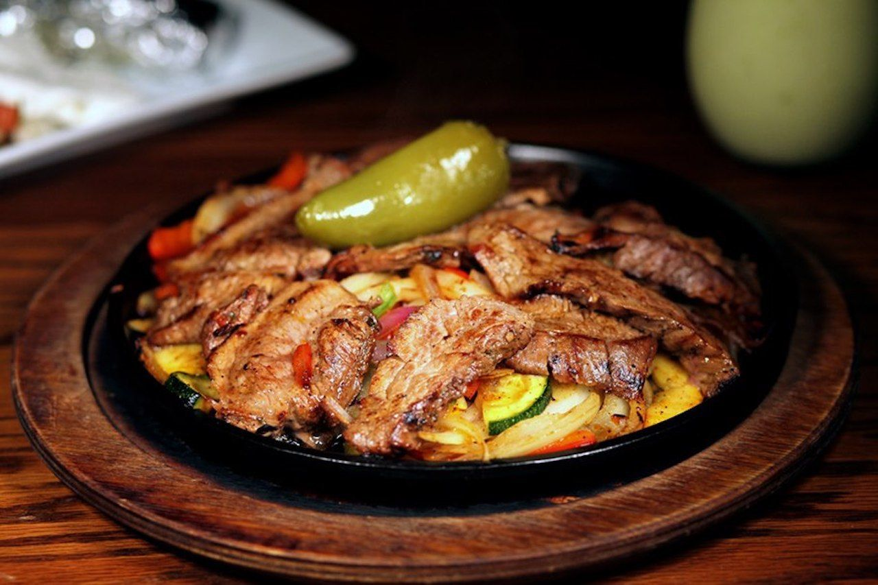 Fajitas with steak and veggies from The Cantina at Historic Biltmore Village