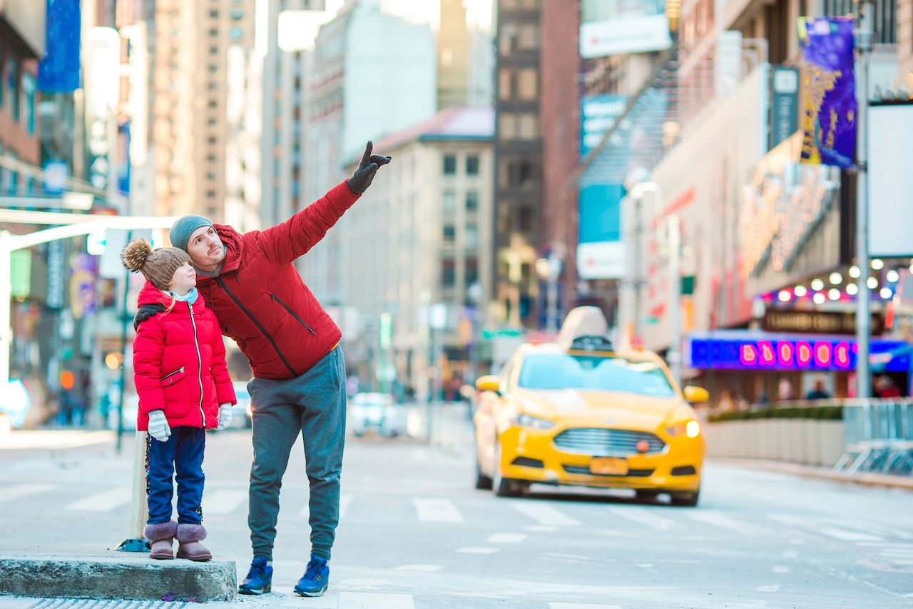 Father and son in Manhattan, New York