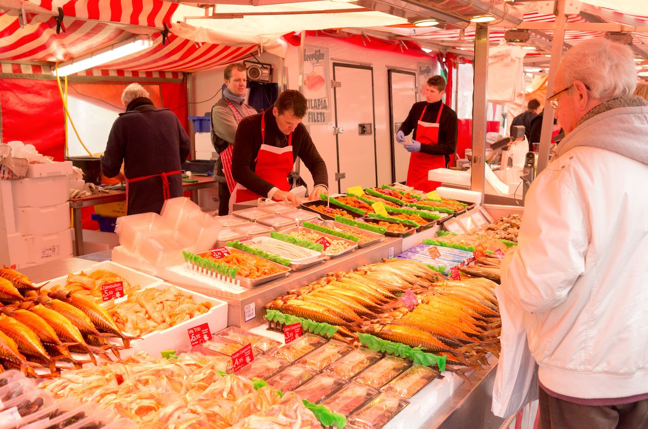 Fish stall at the Albert Cuyp market in Amsterdam