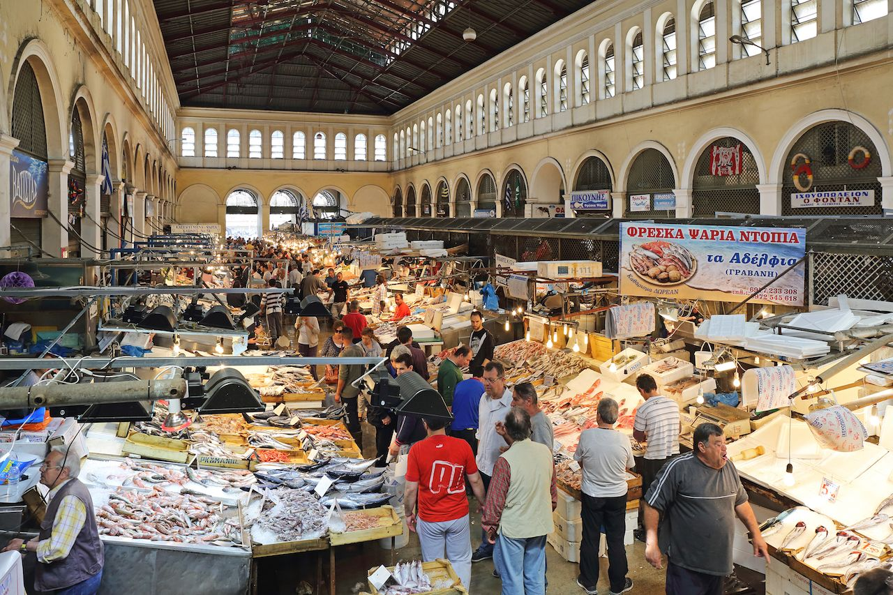 Fishmongers and seafood stalls in a food market in Athens