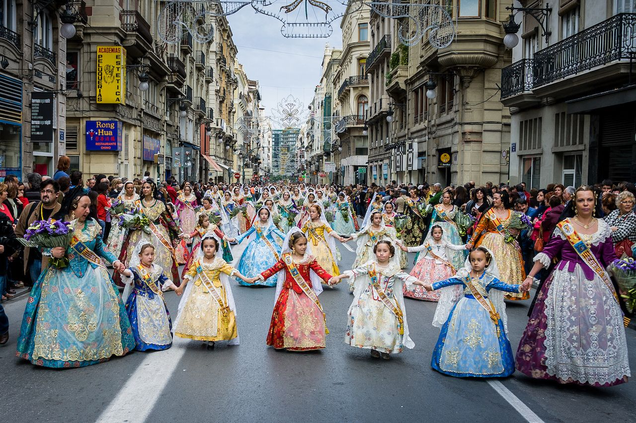 Girls in gowns for the Fallas Festival in Valencia