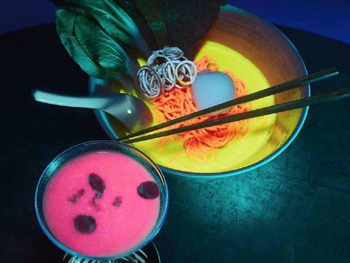 This glow-in-the-dark ramen shop looks deliciously radioactive