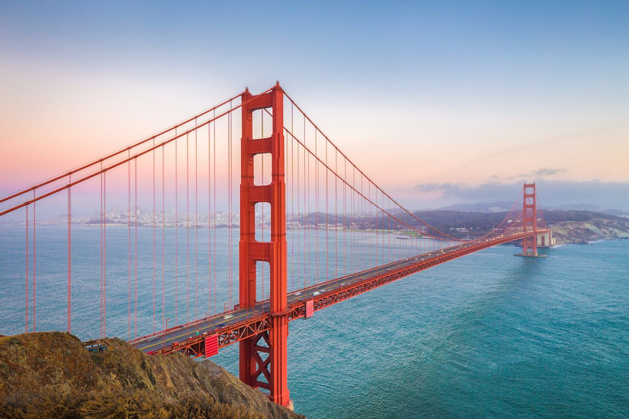 Golden Gate Bridge spanning the water