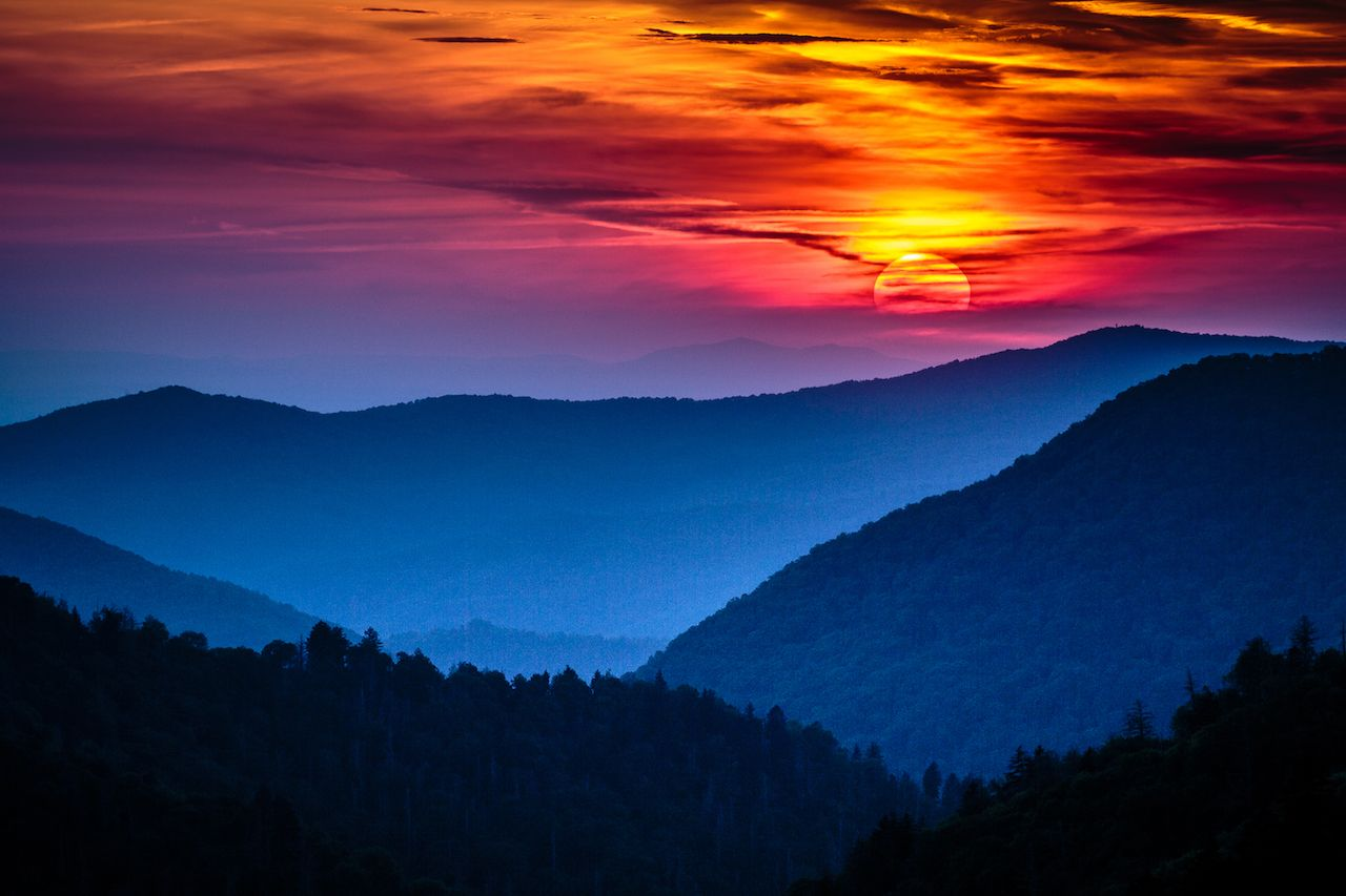Great Smoky Mountains National Park Scenic Sunset Landscape Vacation Getaway Destination