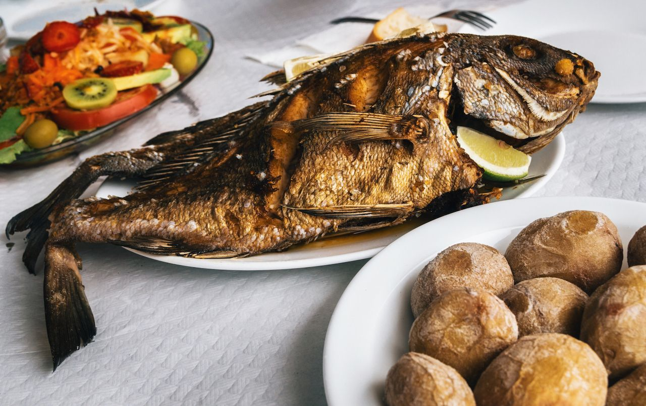 Grilled fish on plate in Tenerife, Canary Islands