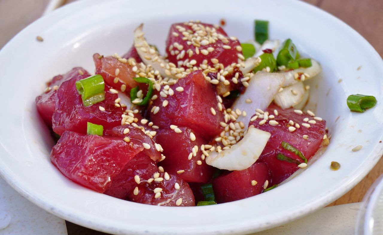 Hawaiian poke with onions and sesame seeds