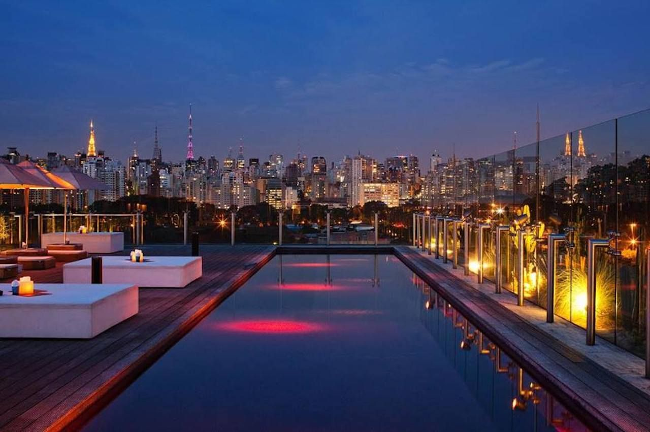Hotel Unique rooftop bar with the Sao Paulo skyline
