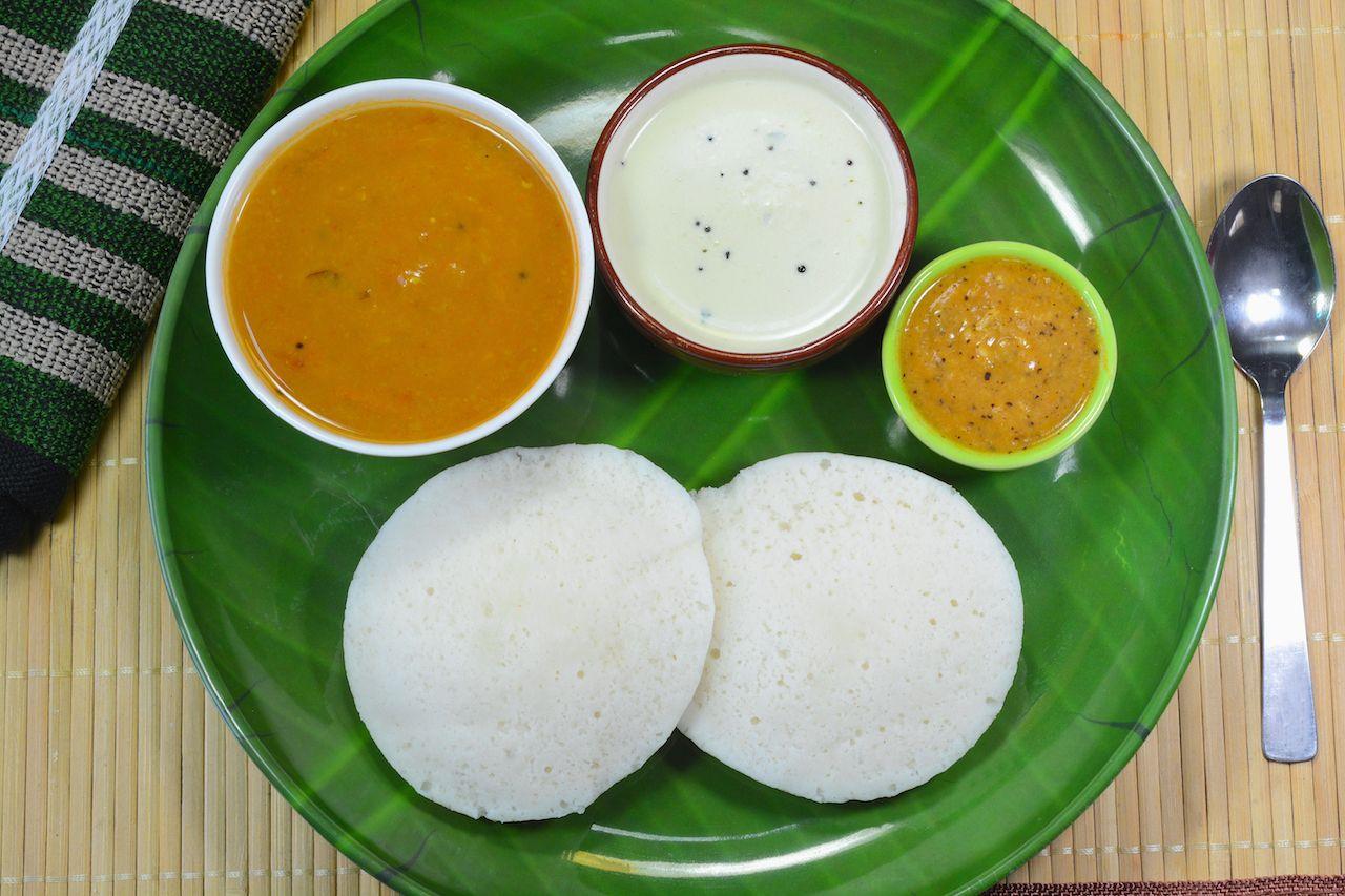 Idi served with chutney and sambar