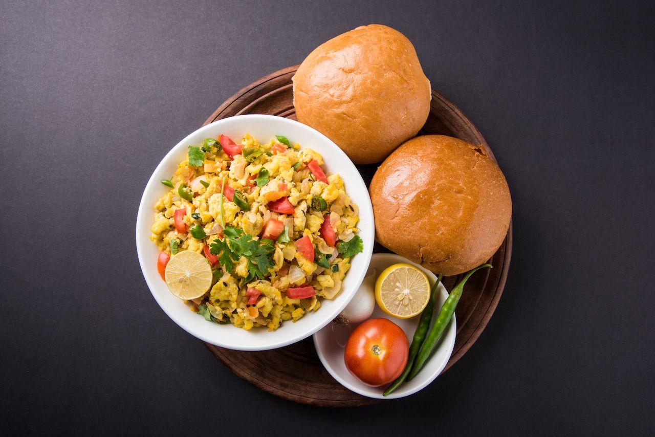 Indian scrambled eggs with Bun Bun or Pav, Popular street food in Mumbai