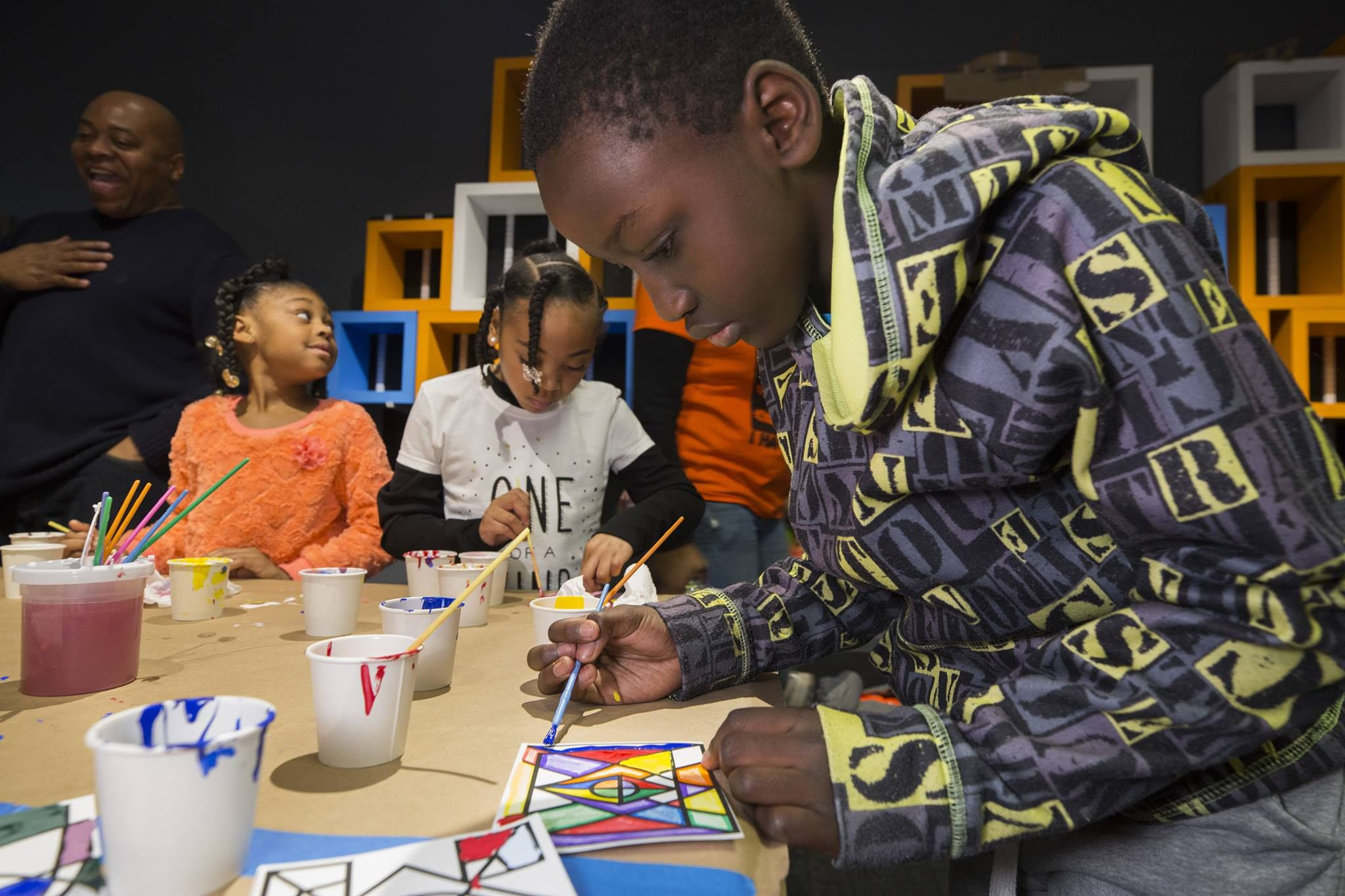 Kids working on art projects at Museum of Science and Industry, Chicago