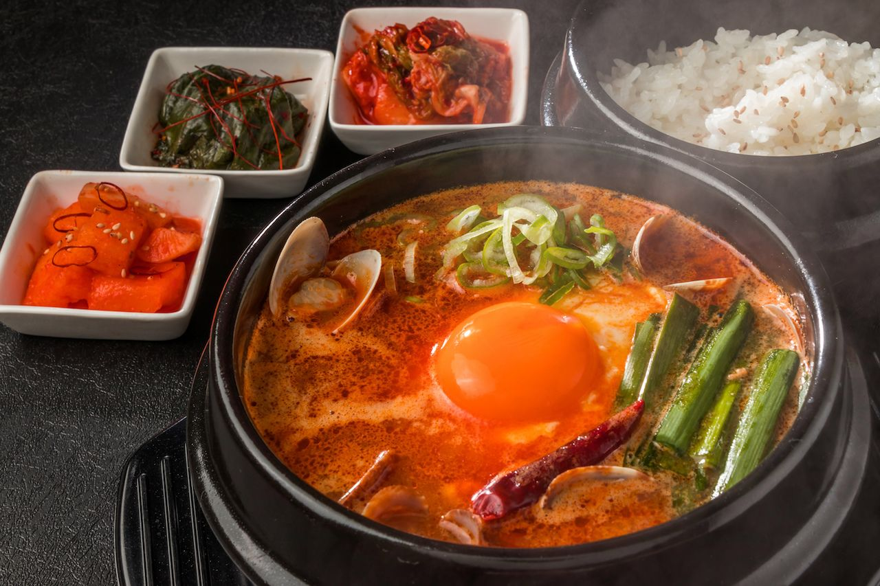 Korean soup with sides and rice