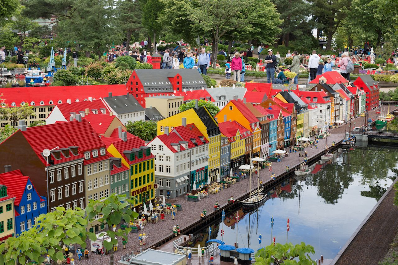 Lego bricks model of Copenhagen Nyhavn at Legoland Park