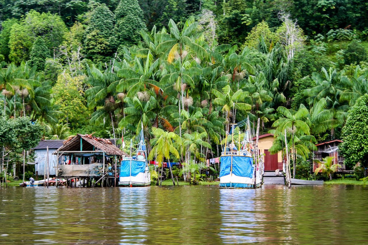 Local village on the water in French Guiana