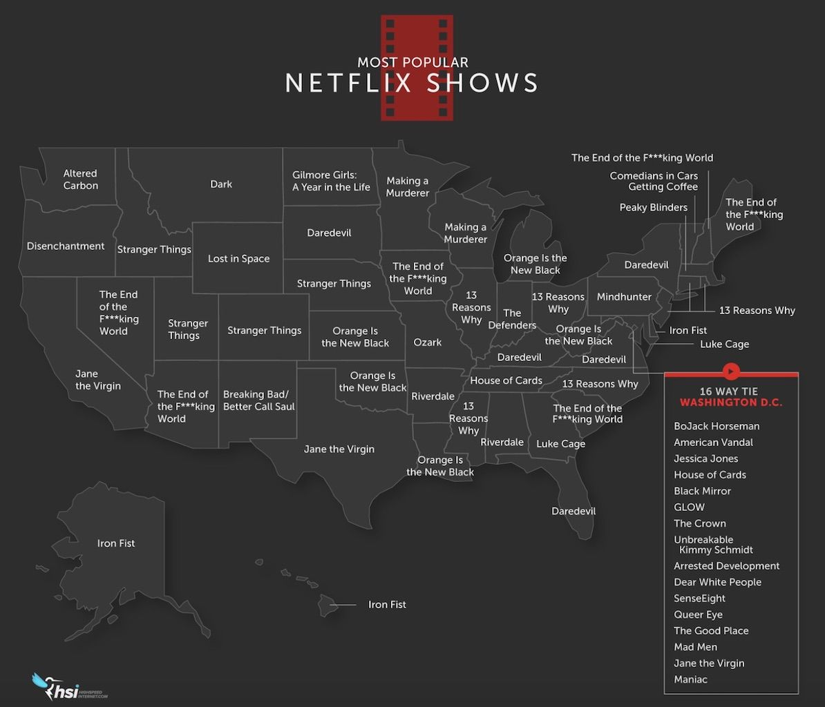 Map of the most popular Netflix shows by state