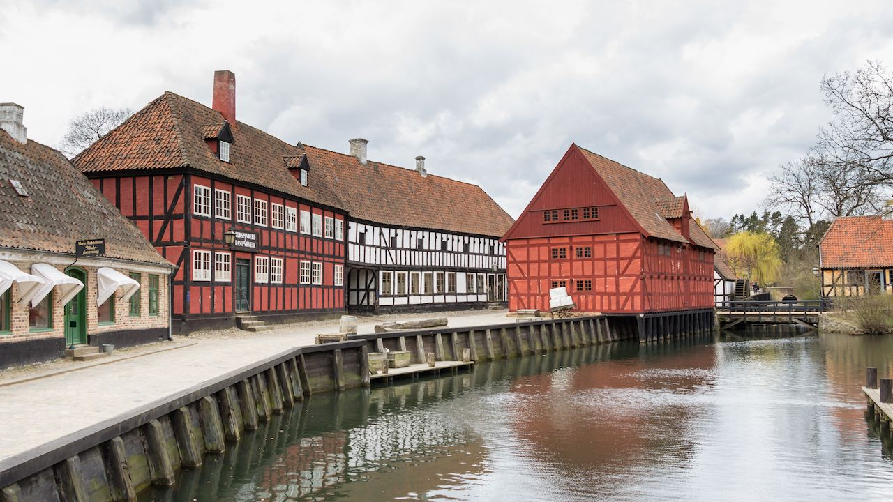 Medieval houses in the streets of Den Gamle By the old town in Aarhus