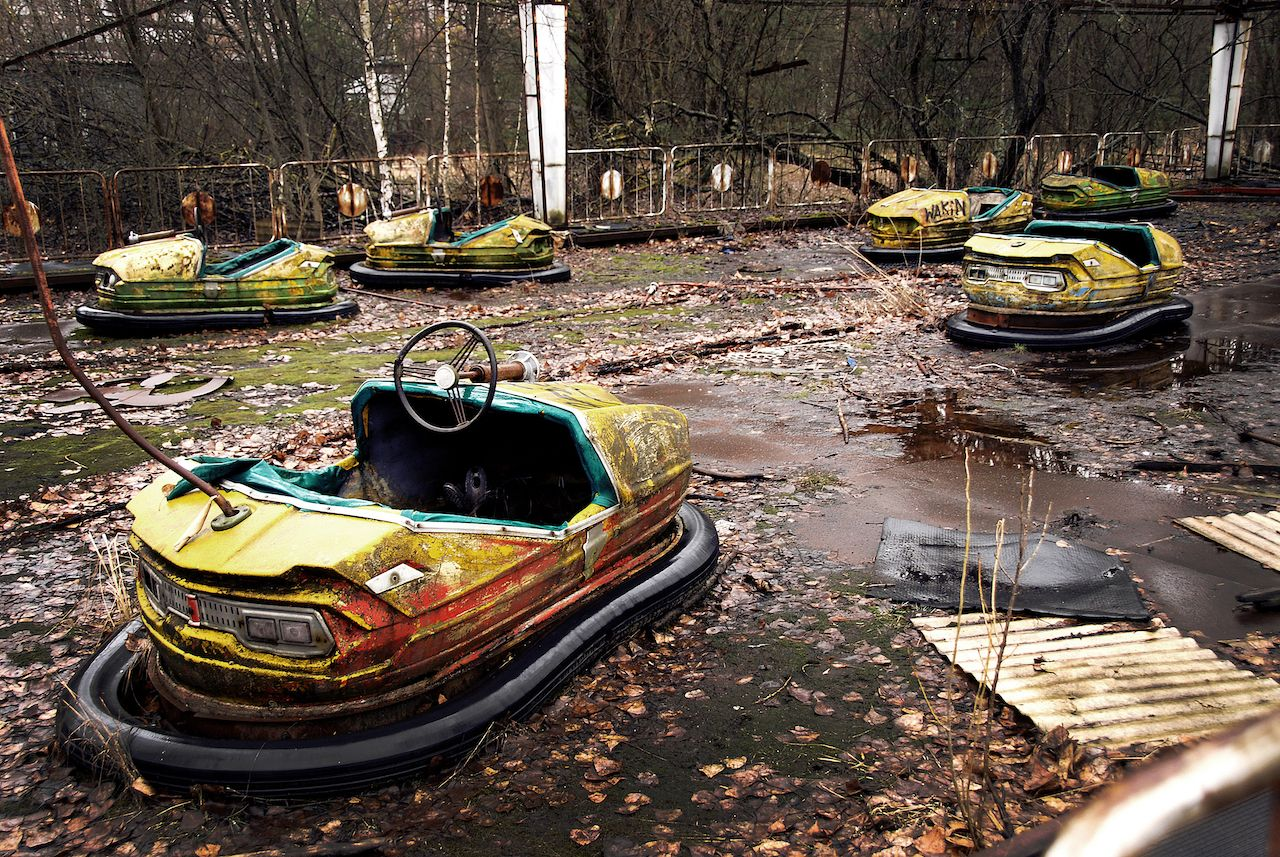 Old fair for children in Pripyat, the site of Chernobyl disaster, Ukraine