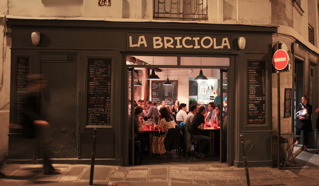 Outside of La Bricola restaurant in Paris, France