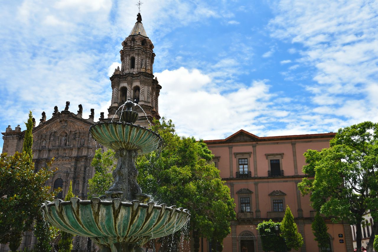 Panoramic view of the Templo Baroque style of San Francisco in San Luis Potosi, Mexico