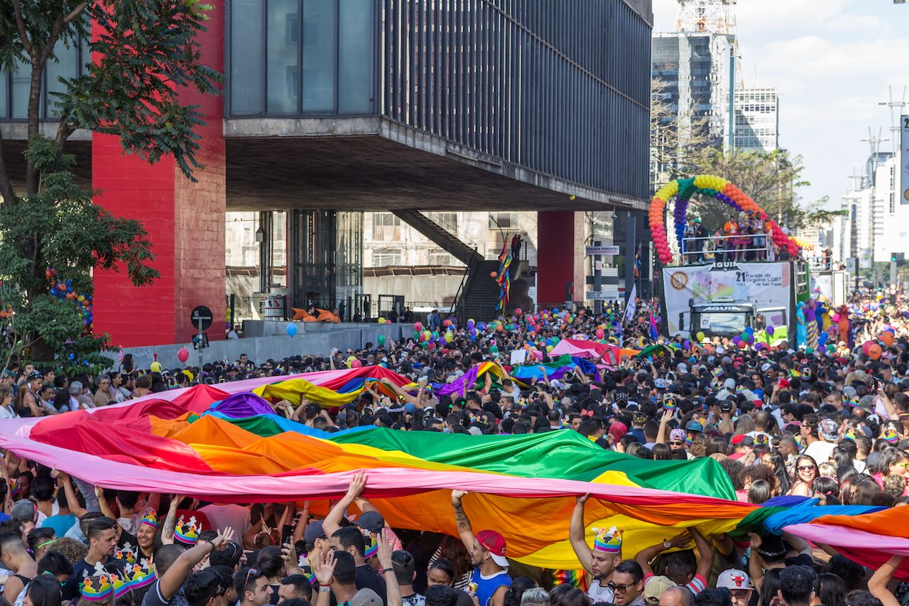Participants at Pride Parade in Sao Paulo to support LGBT rights