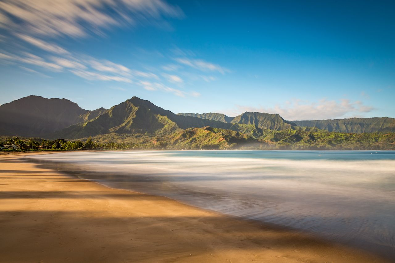 Peaceful Morning at Hanalei Beach on Kauai Island, Hawaii