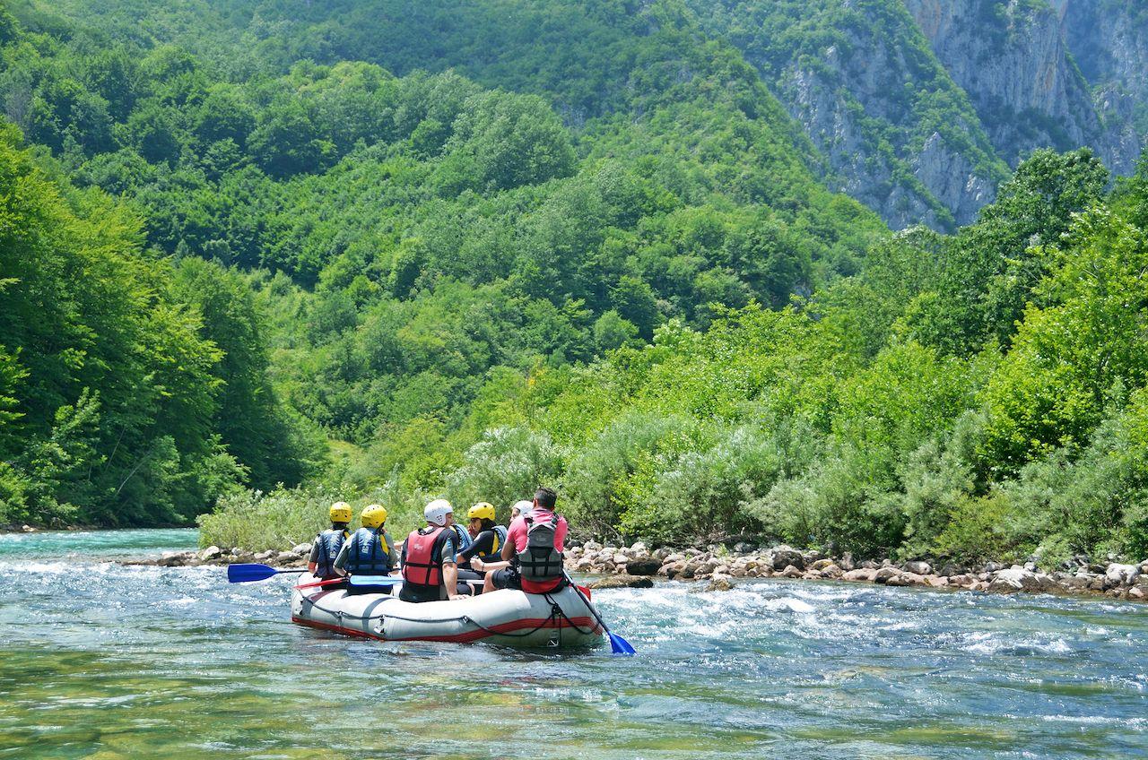 People rafting on the river Tara in Montenegro