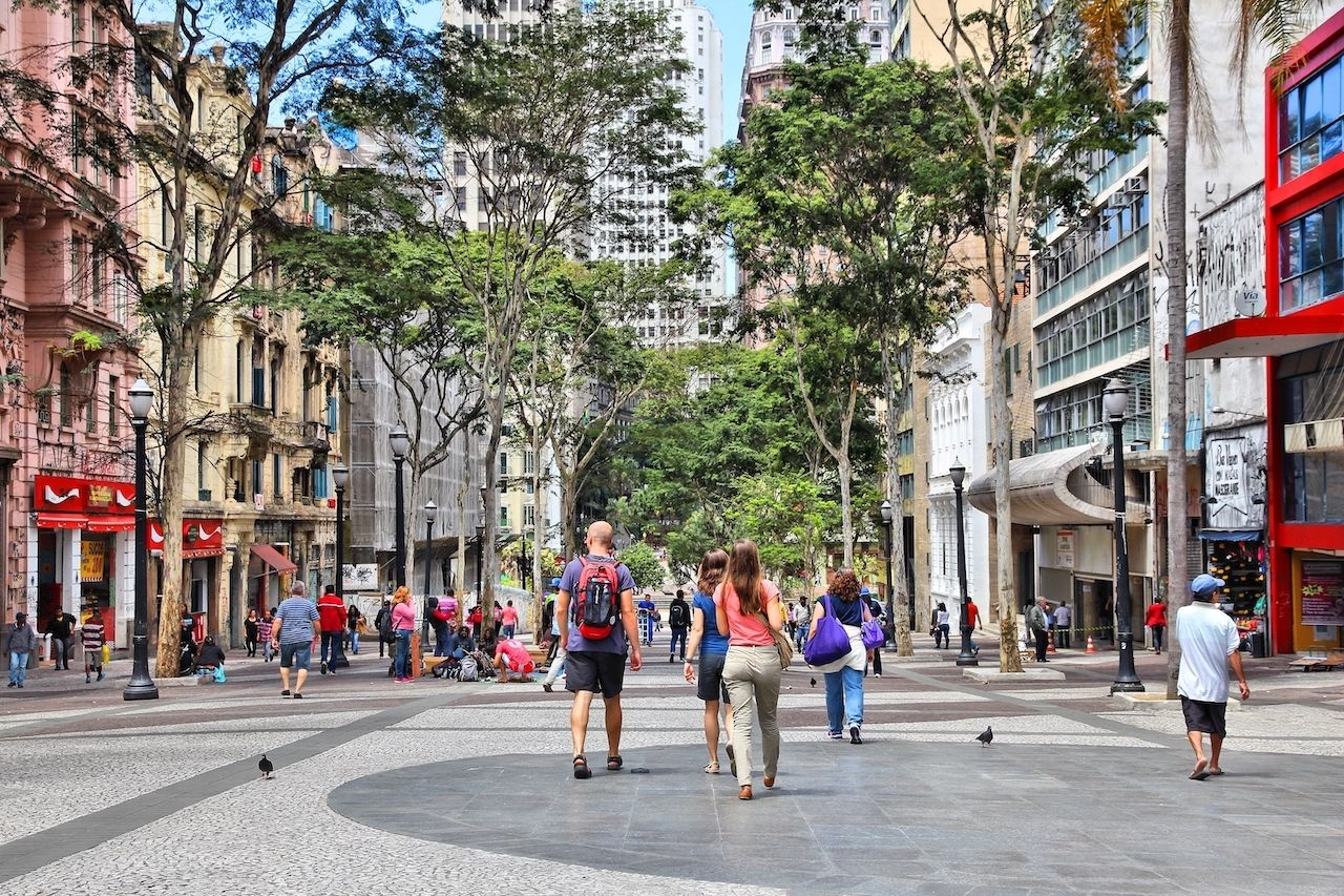 People visit downtown Sao Paulo