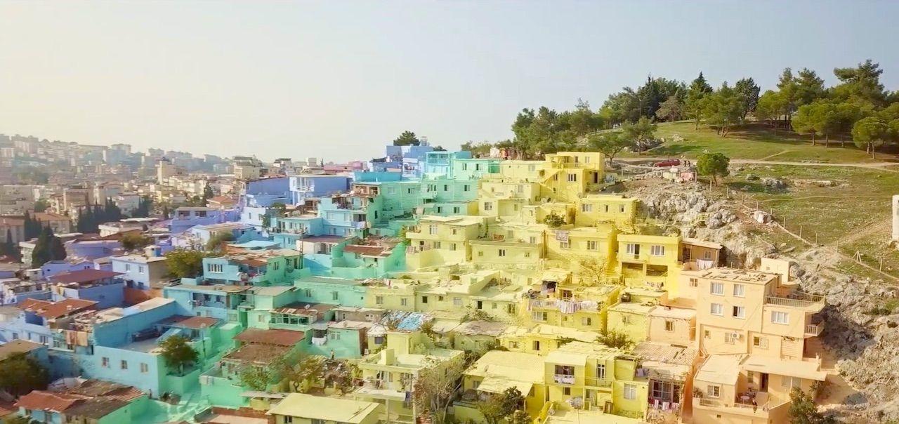 Turkish town given rainbow paint job