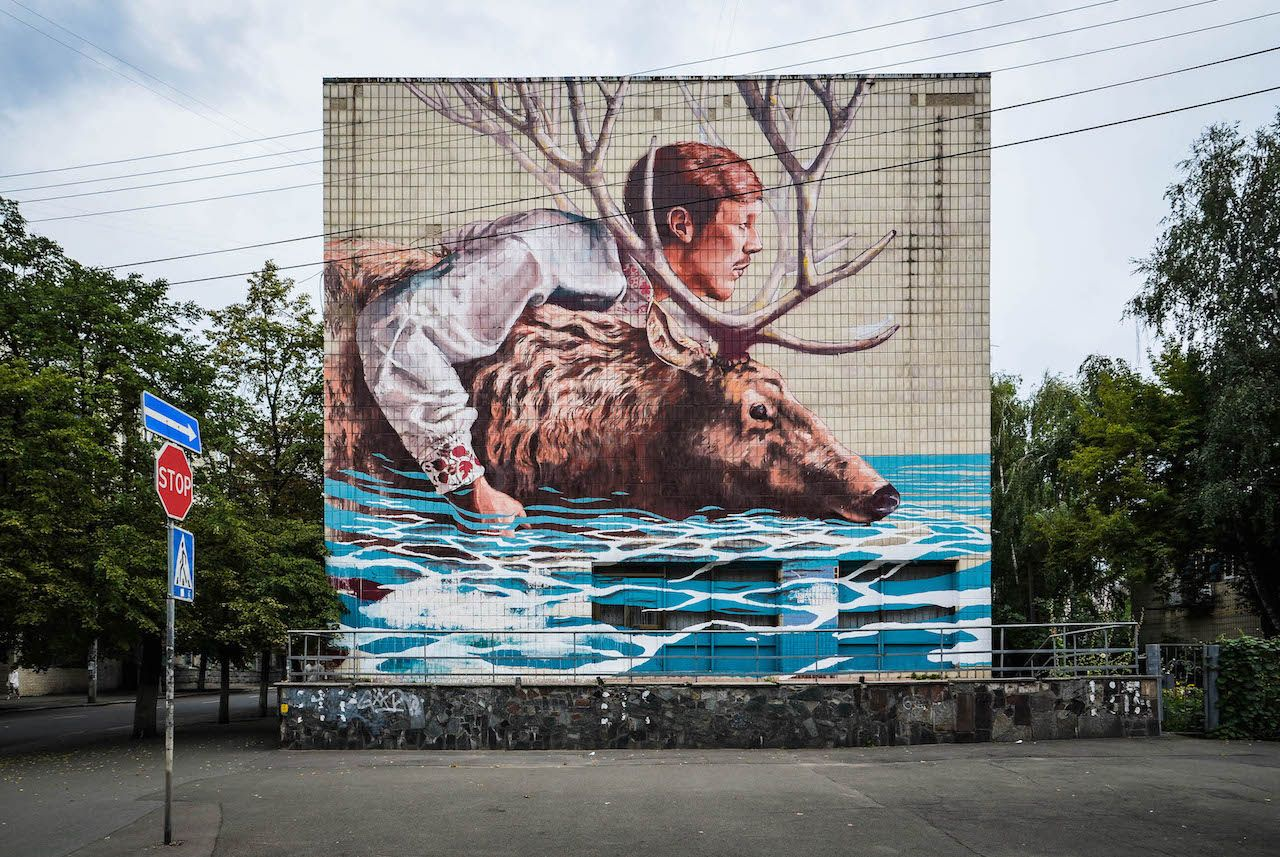 River Crossing by Fintan Magee in Kiev