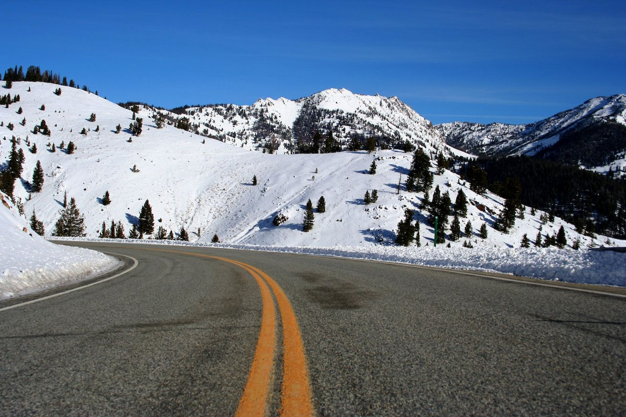 Road through snowy mountains between Stanley and Ketchum, Idaho