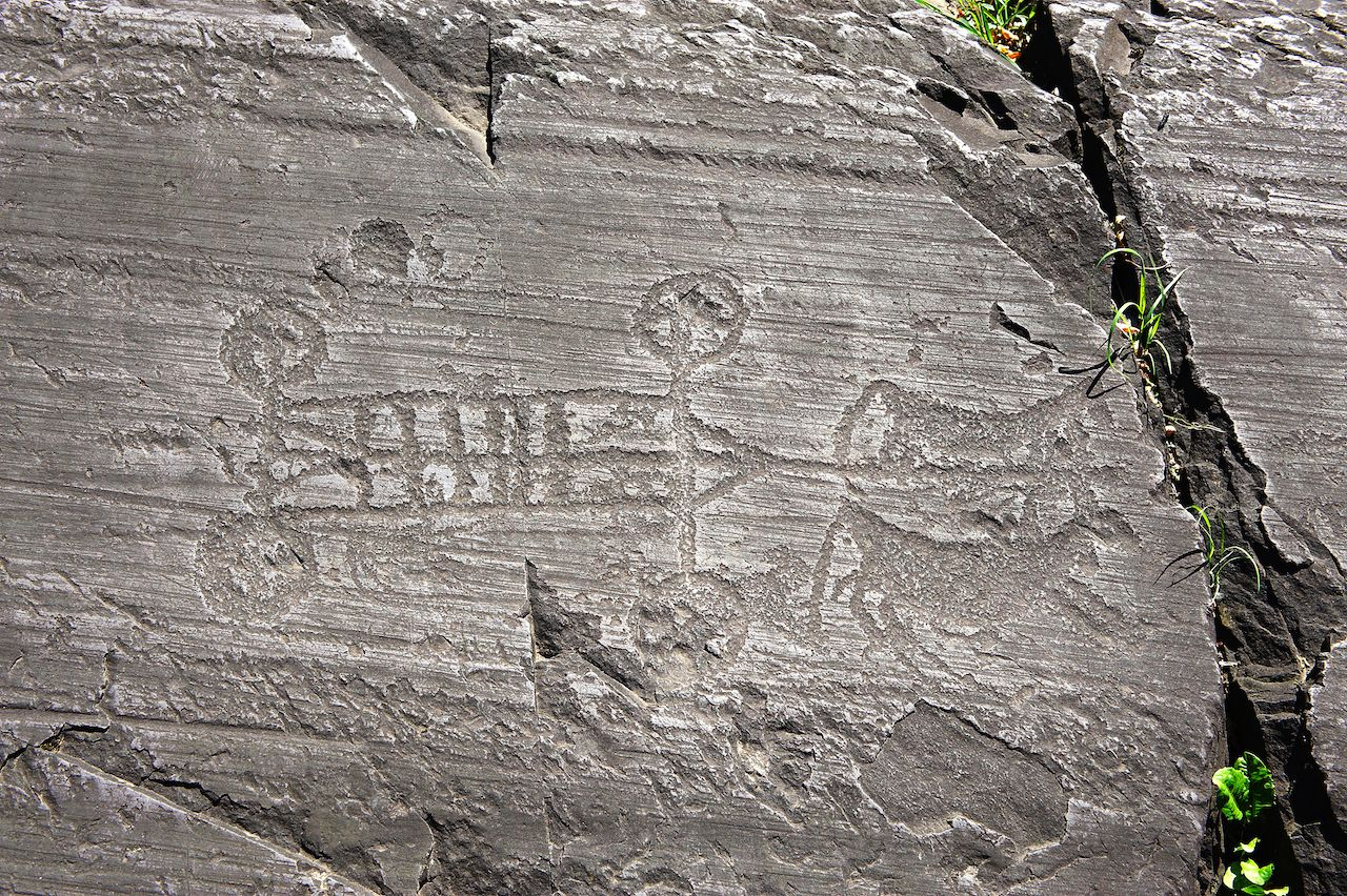 Rock engraving at the National Park of Rock Engravings in Italy