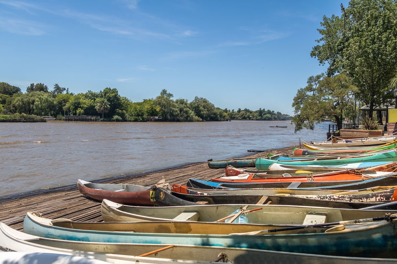 Row boats on the Parana Delta in Tigre, Argentina