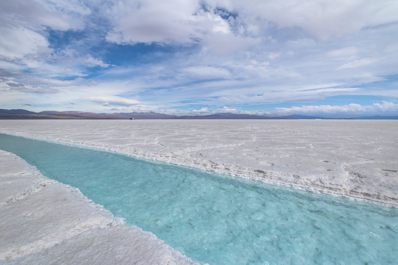 Salt water pool in Salinas Grandes Salt Flat