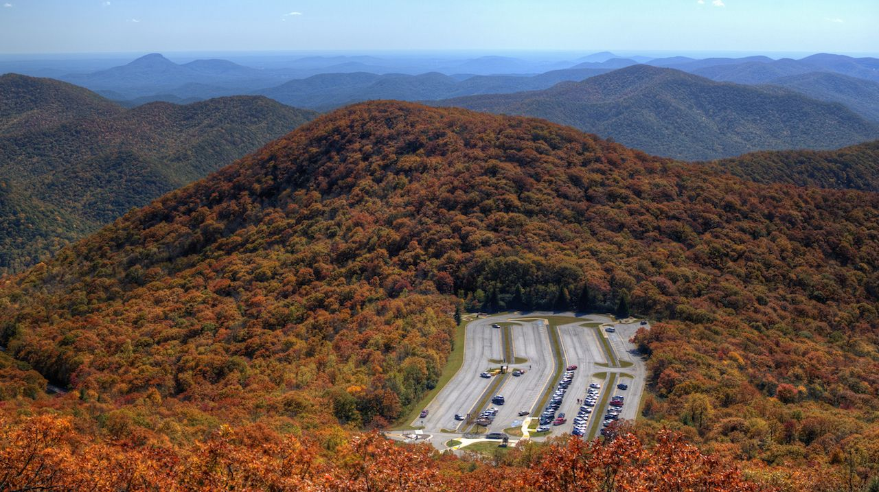 Scenic overview in Georgia with red-orange trees