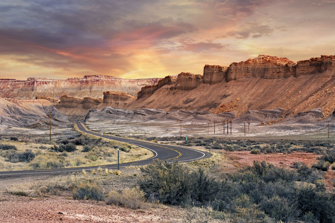 Scenic road in Capitol Reef National Park at sunset