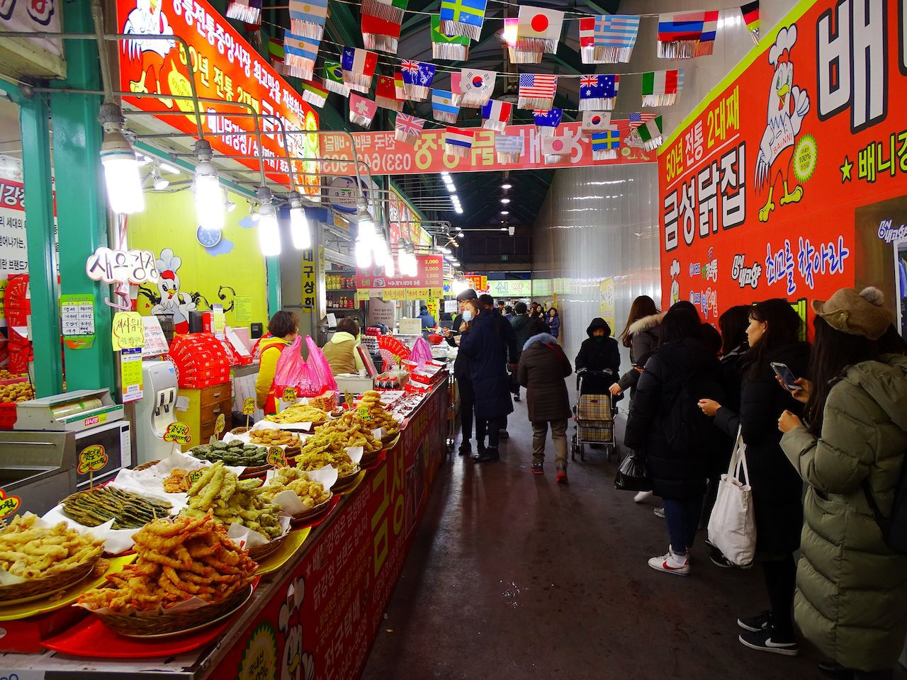 Shoppers at a market in Gangneung, South Korea