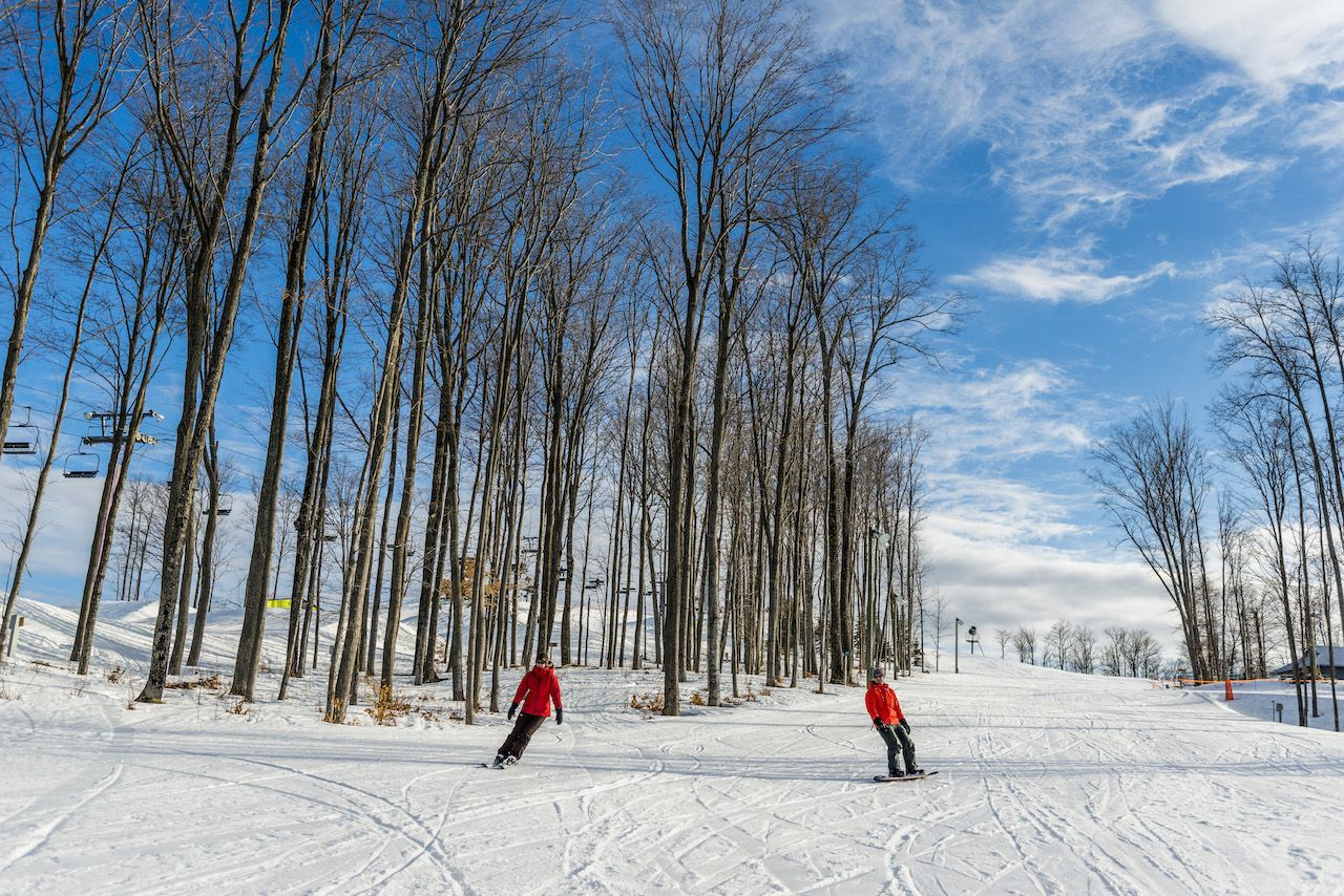 Skiers in Shanty Creek resort