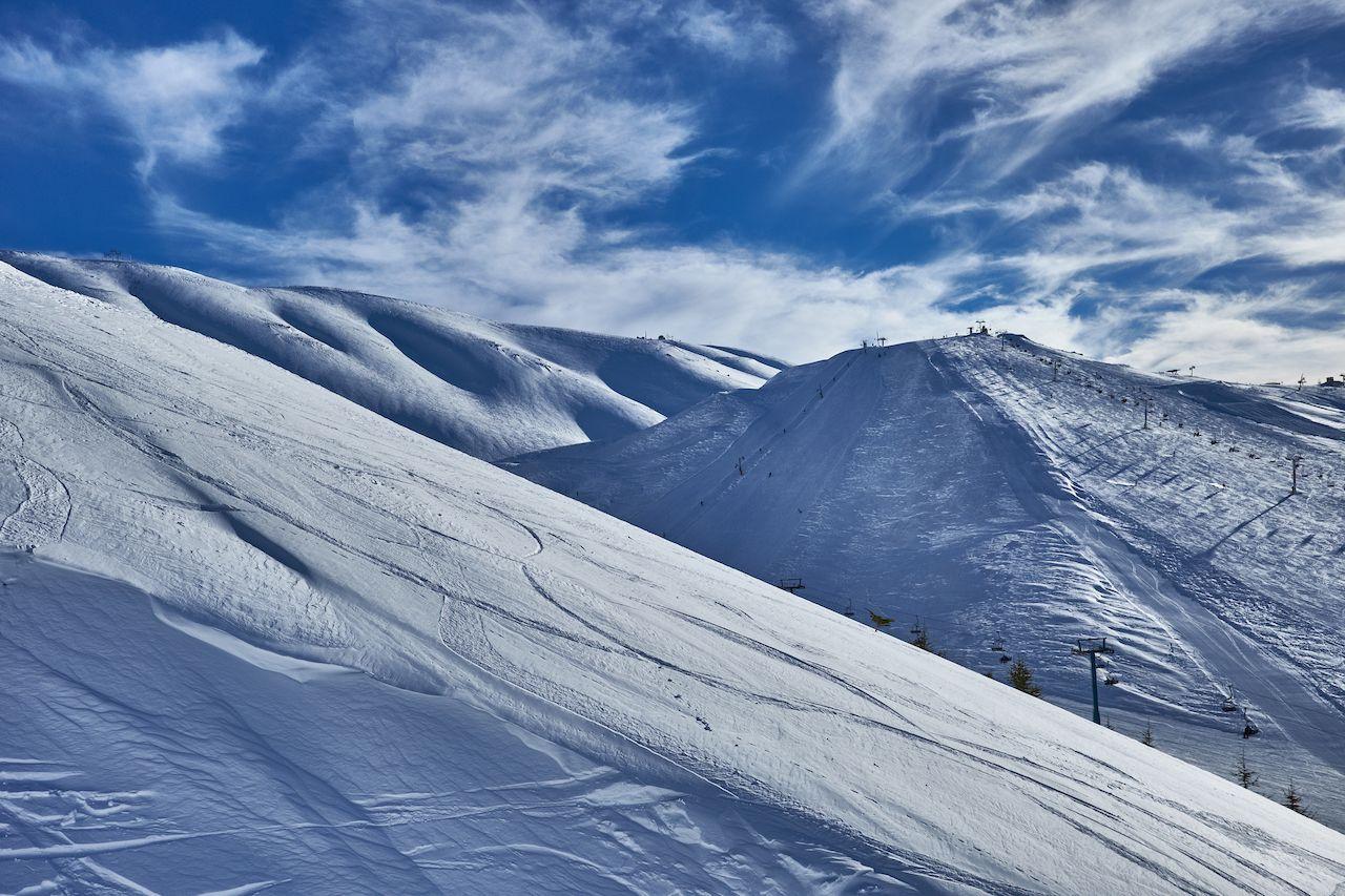 Snowy mountain under blue skies