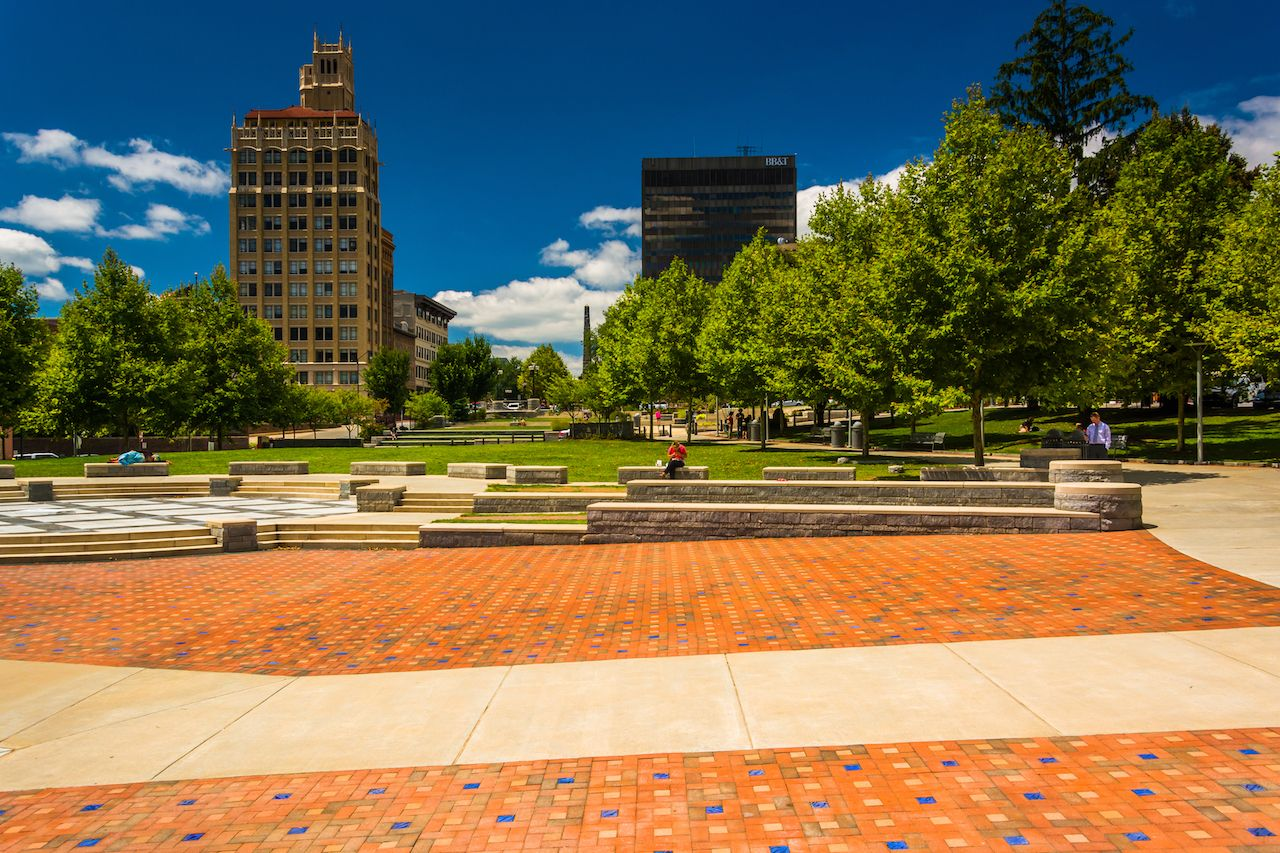 Square Park Pack and Highrises in Asheville, North Carolina