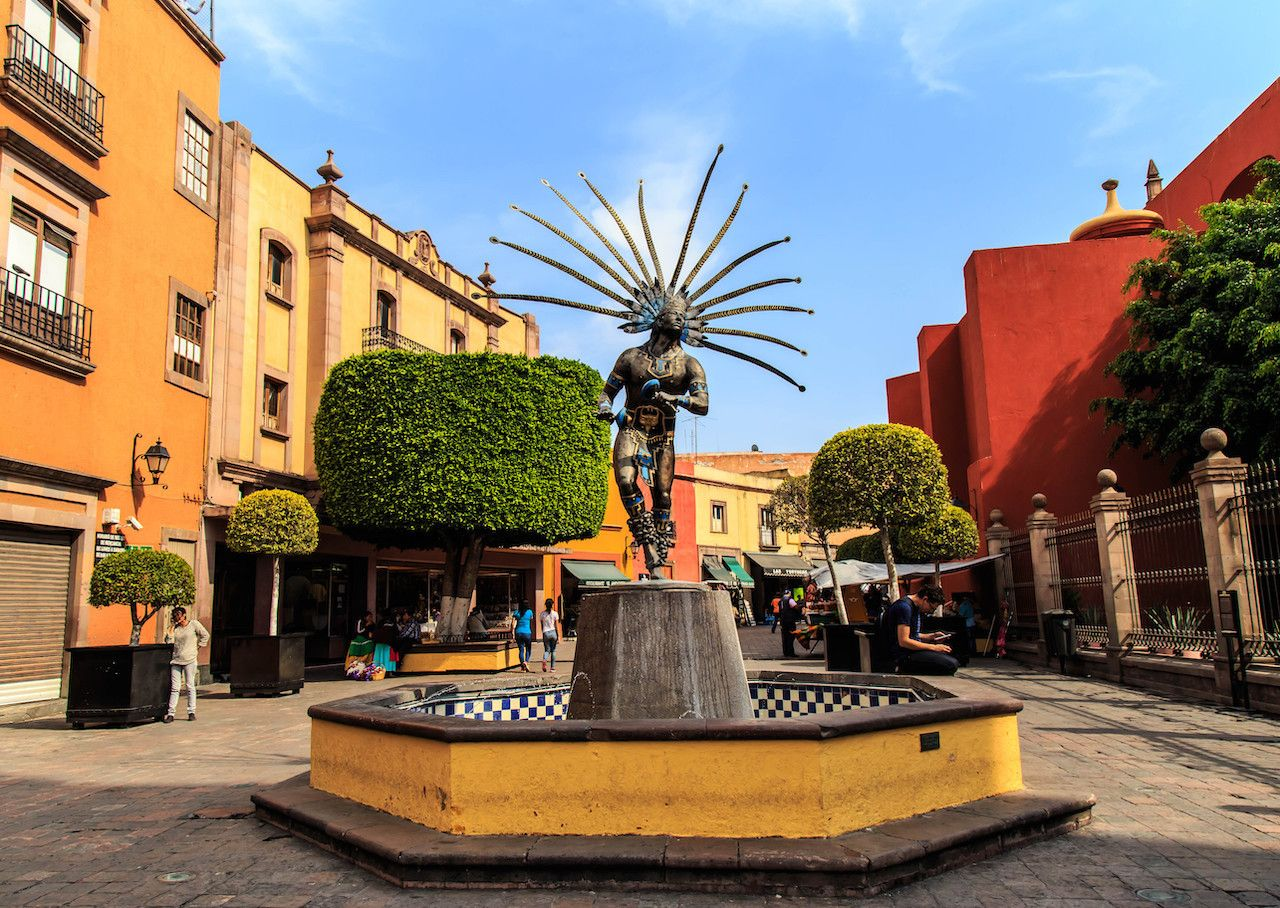Statue of dancing Indian in the city of Queretaro, Mexico