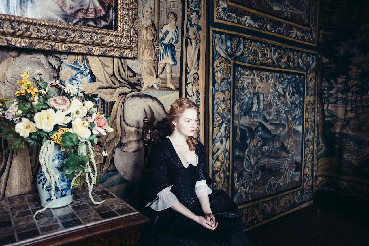 Still frame of Emma Stone in The Favorite