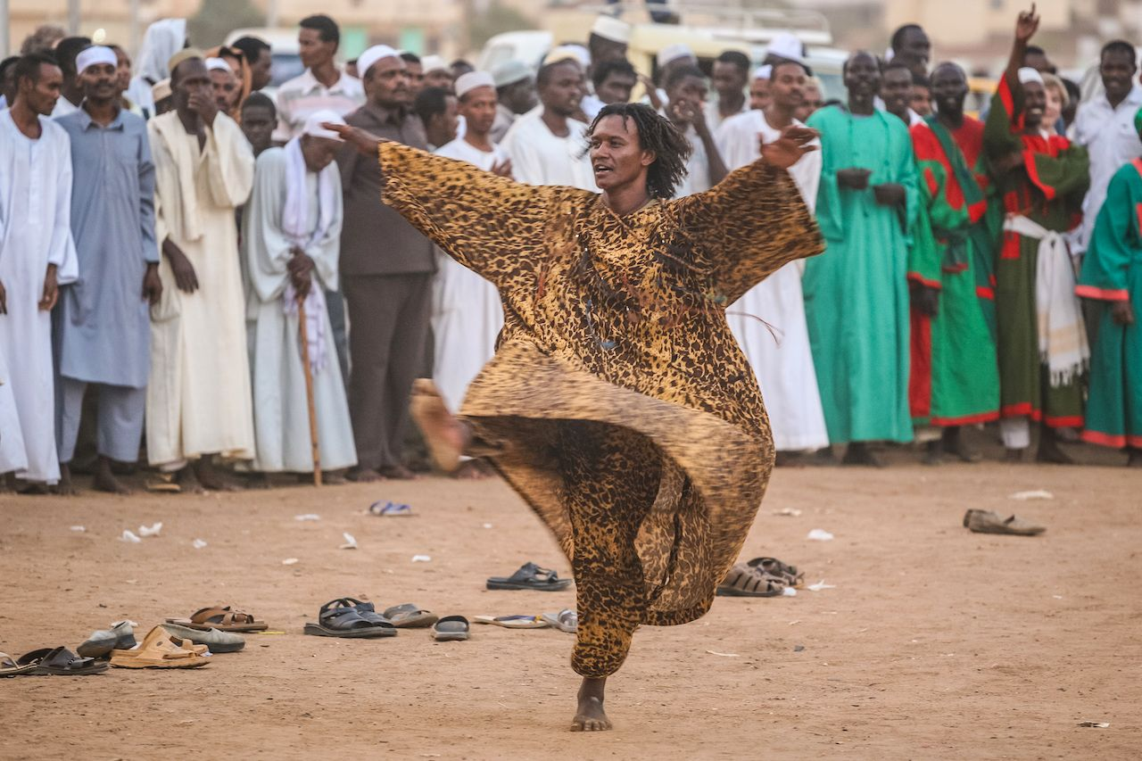 Sufi dervishes gather for religious rituals in Omdurman