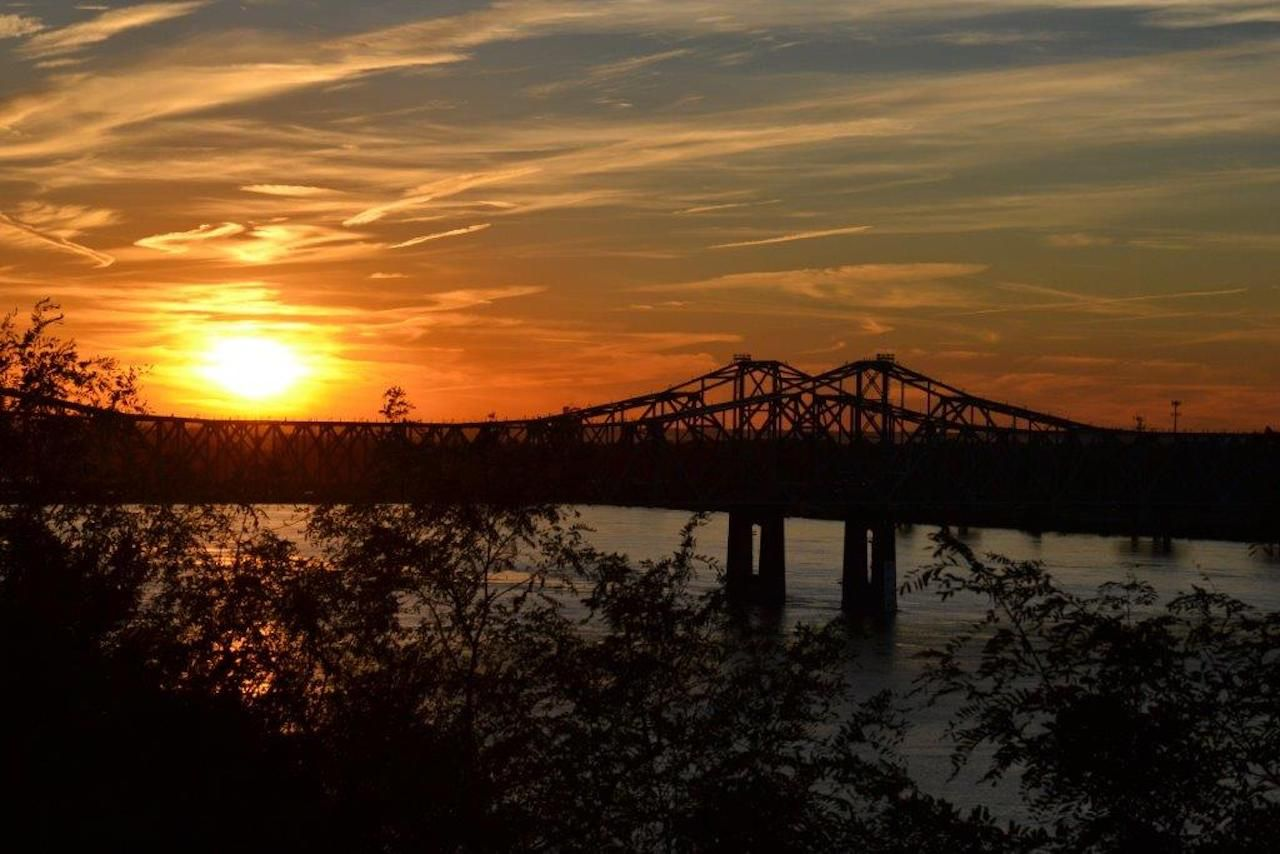 Sunset over a bridge in Mississippi
