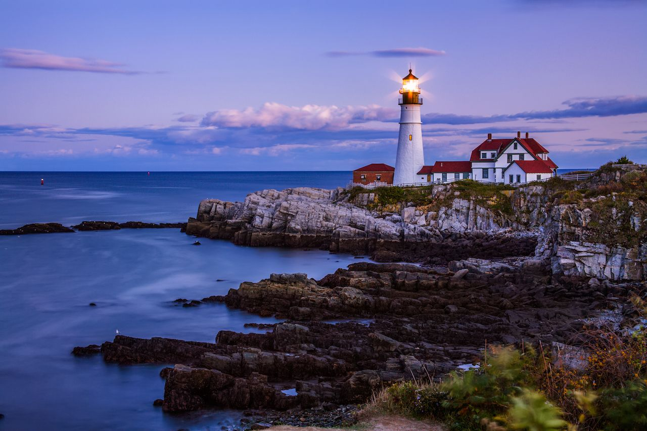 The Benevolent Sentinel, The Portland Head Light After Sunset, Portland Maine