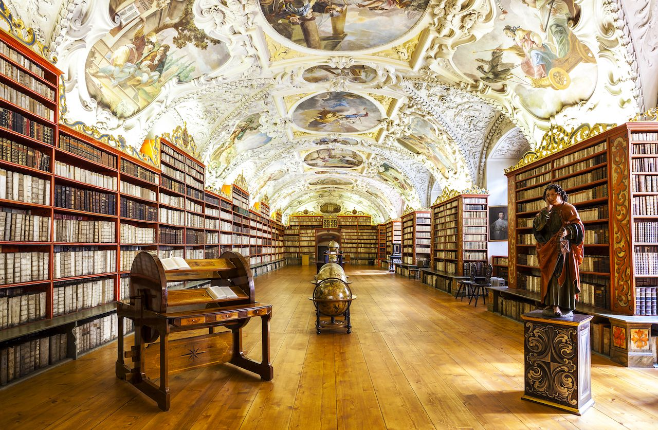 The Theological Hall in Strahov Monastery in Prague, one of the finest library interiors in Europe