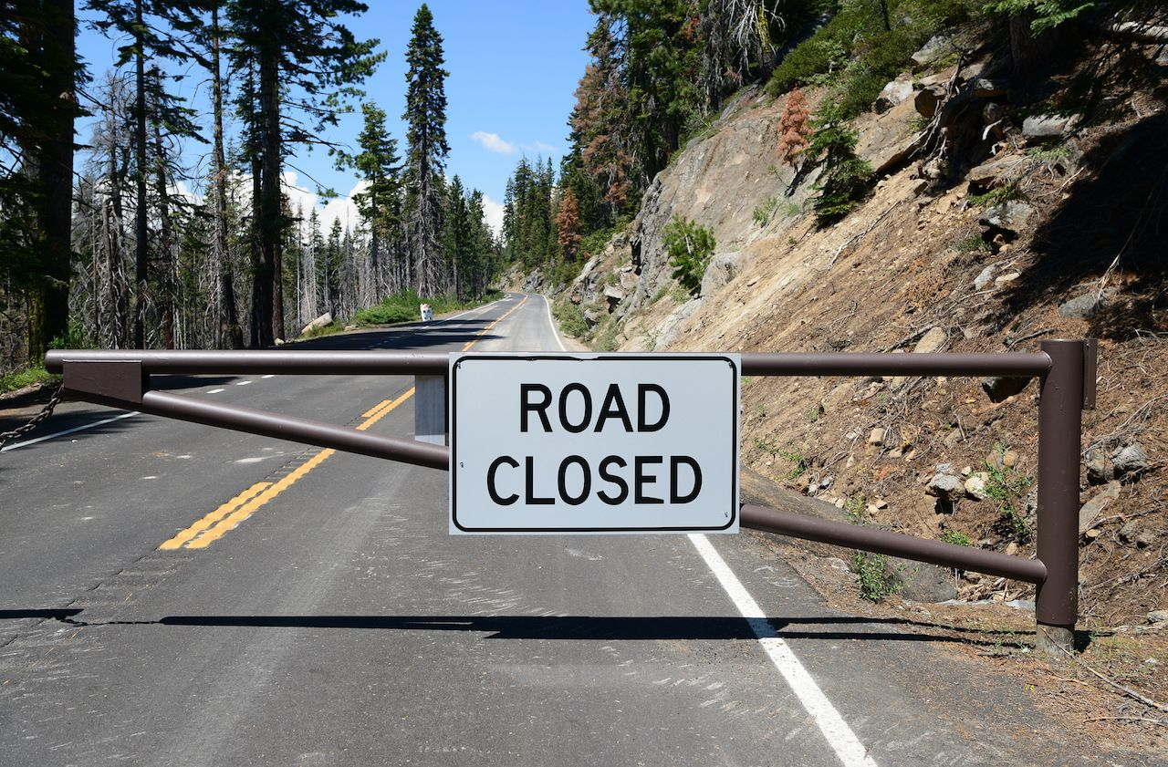 The closed road sign in Yosemite National Park, California