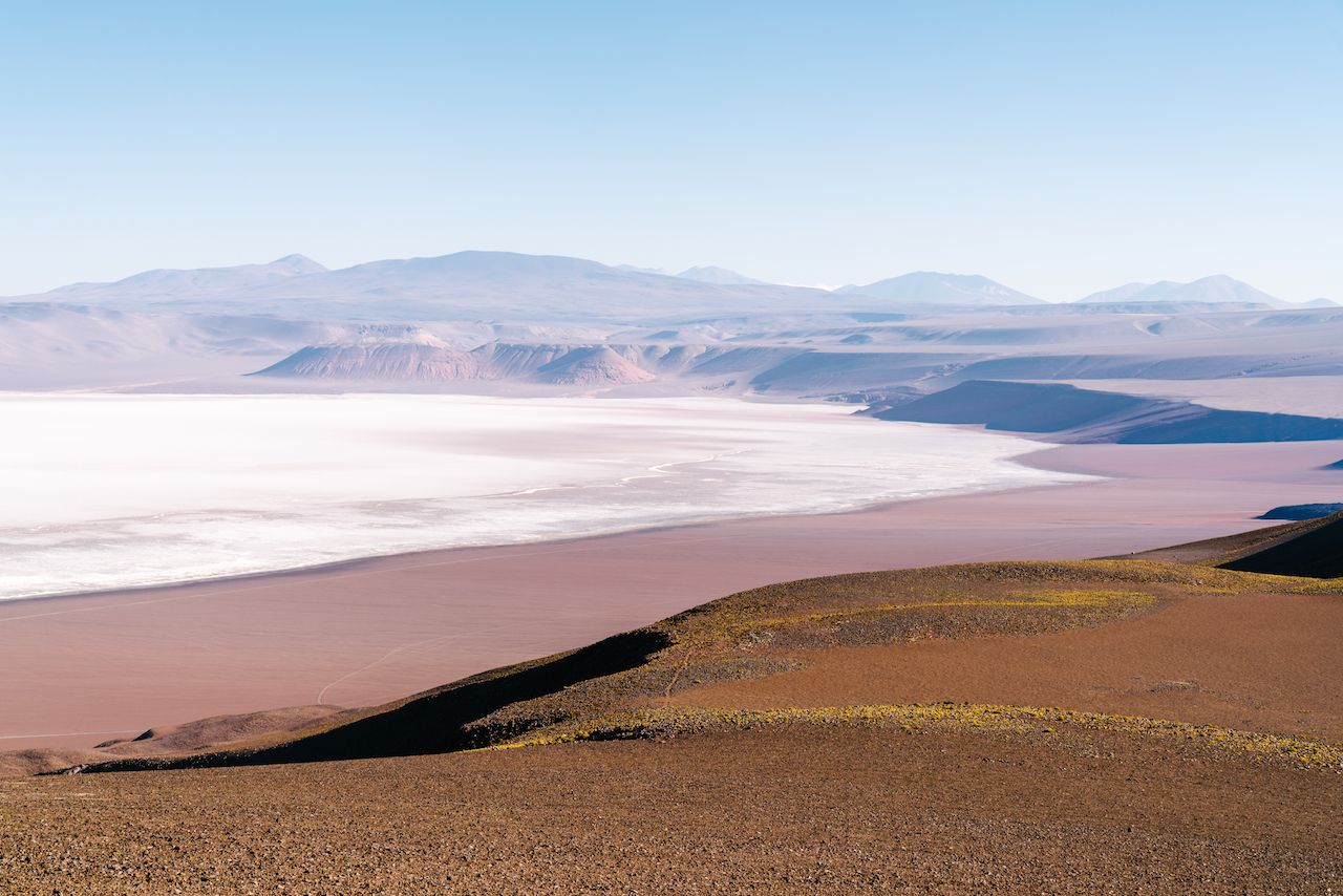 The edge of Argentina's second largest flat salt, the Salar De Arizaro in the Andes