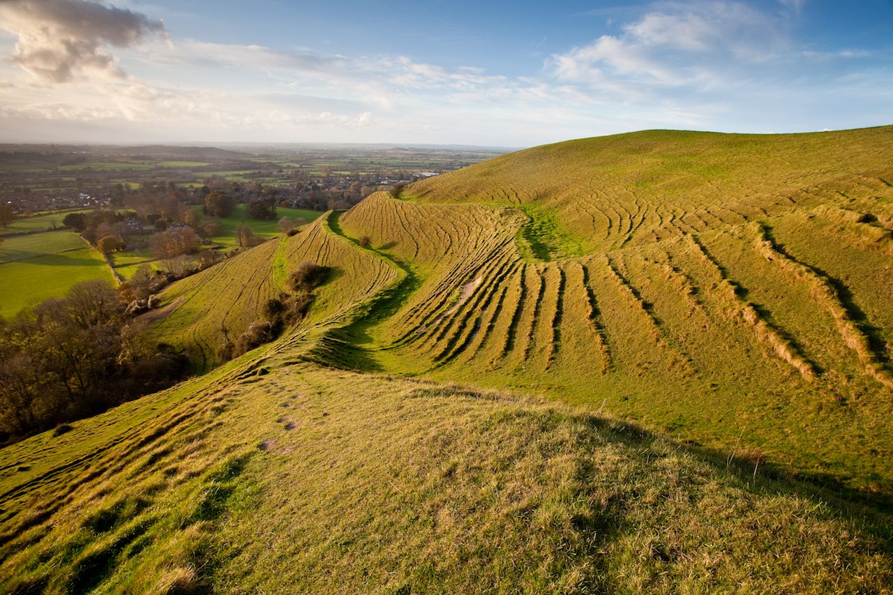 The famous prehistoric hill fort in North Dorset with the Blackmore Vale beyond